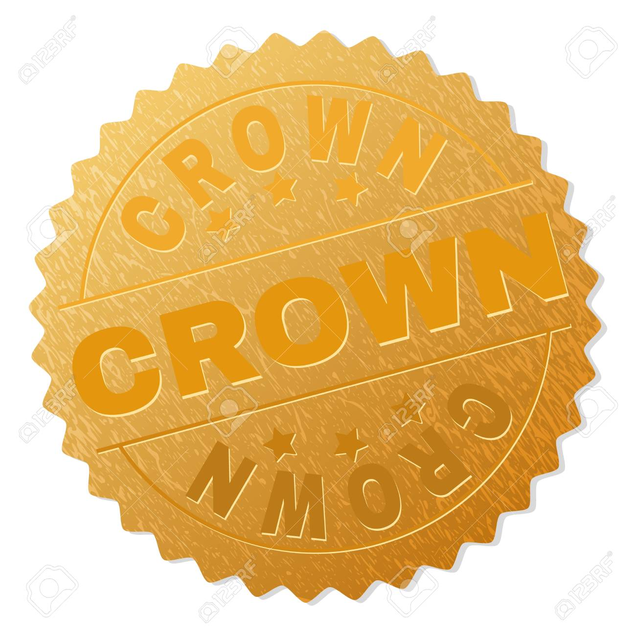CROWN Gold Stamp Award Vector With Text Labels Are Placed