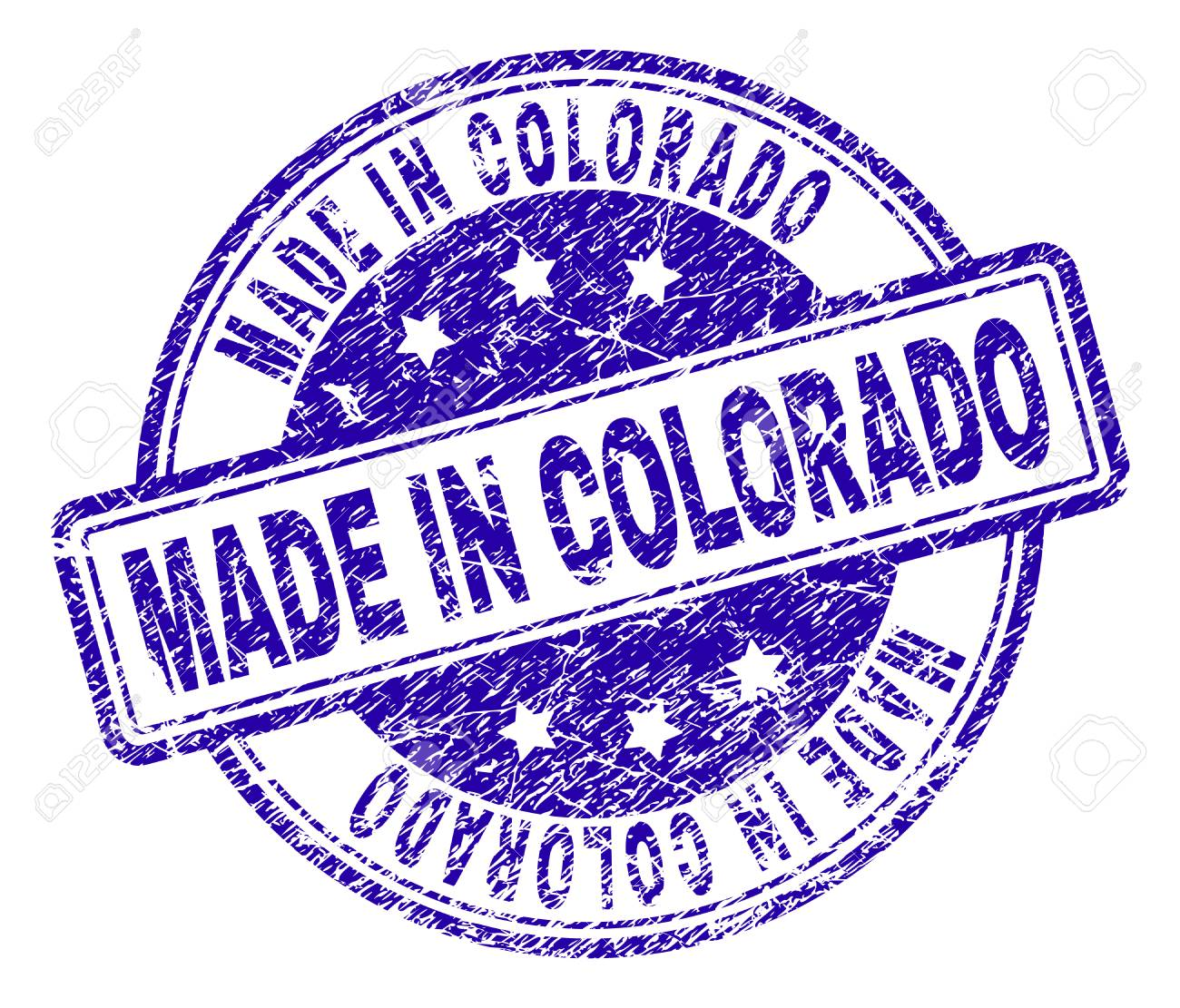 MADE IN COLORADO Stamp Seal Watermark With Grunge Style Designed Rounded Rectangles And Circles