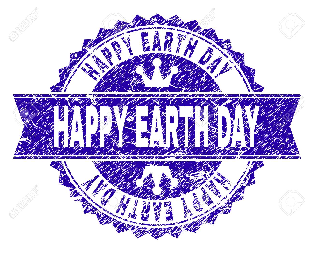 HAPPY EARTH DAY rosette stamp watermark with distress style. Designed with round rosette, ribbon and small crowns. Blue vector rubber watermark of HAPPY EARTH DAY caption with retro style. - 126478641