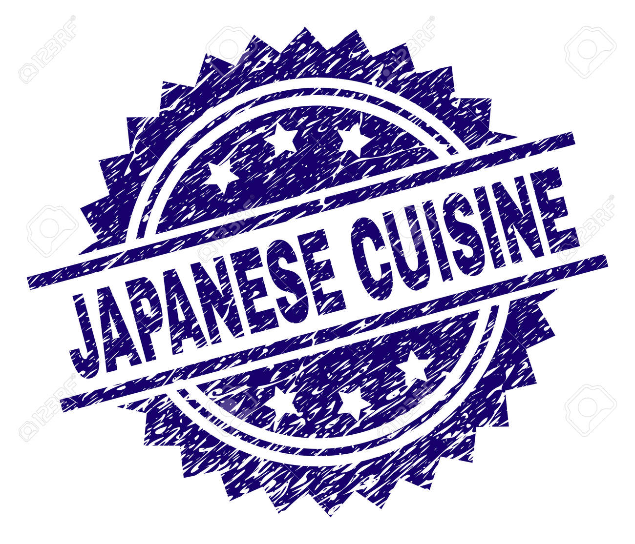 JAPANESE CUISINE stamp seal watermark with distress style. Blue vector rubber print of JAPANESE CUISINE tag with scratched texture. - 126338153