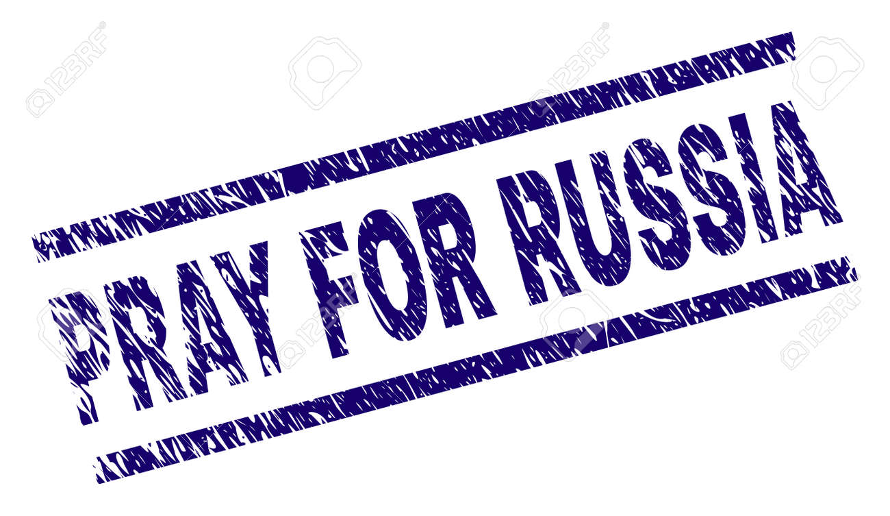 PRAY FOR RUSSIA seal stamp with distress style. Blue vector rubber print of PRAY FOR RUSSIA title with dust texture. Text title is placed between parallel lines. - 125664442
