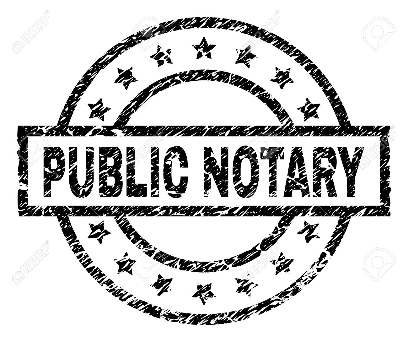 Public Notary Stamp Seal Watermark With Distress Style Designed
