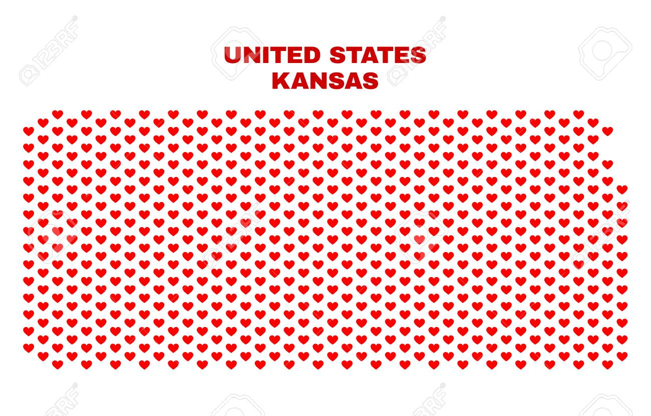 Mosaic Kansas State map of love s in red color isolated.. on kansas counties map, herington kansas map, missouri map, arkansas map, oklahoma map, the state map, colorado map, kansas elevation map, kansas lakes map, usa map, kansas map with all cities, kansas road map, kansas us map, nebraska map, printable kansas map, kansas interstate map, tennessee state map, united states map, kansas small town map, colby kansas map,
