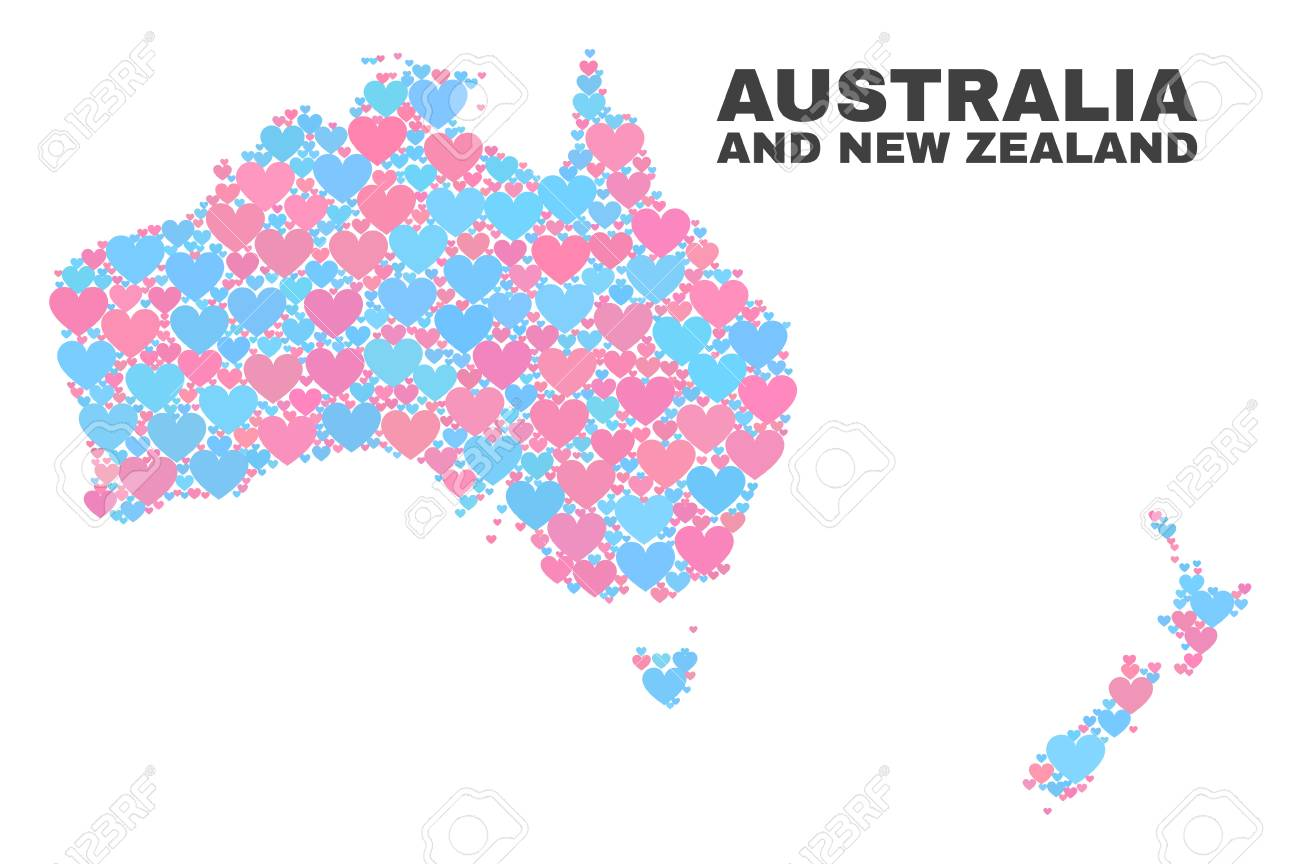 Australia To New Zealand Map.Mosaic Australia And New Zealand Map Of Valentine Hearts In Pink