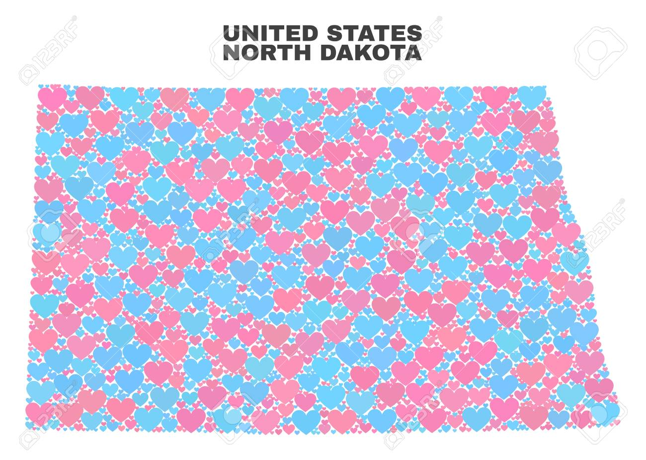 Mosaic North Dakota State Map Of Love Hearts In Pink And Blue ...