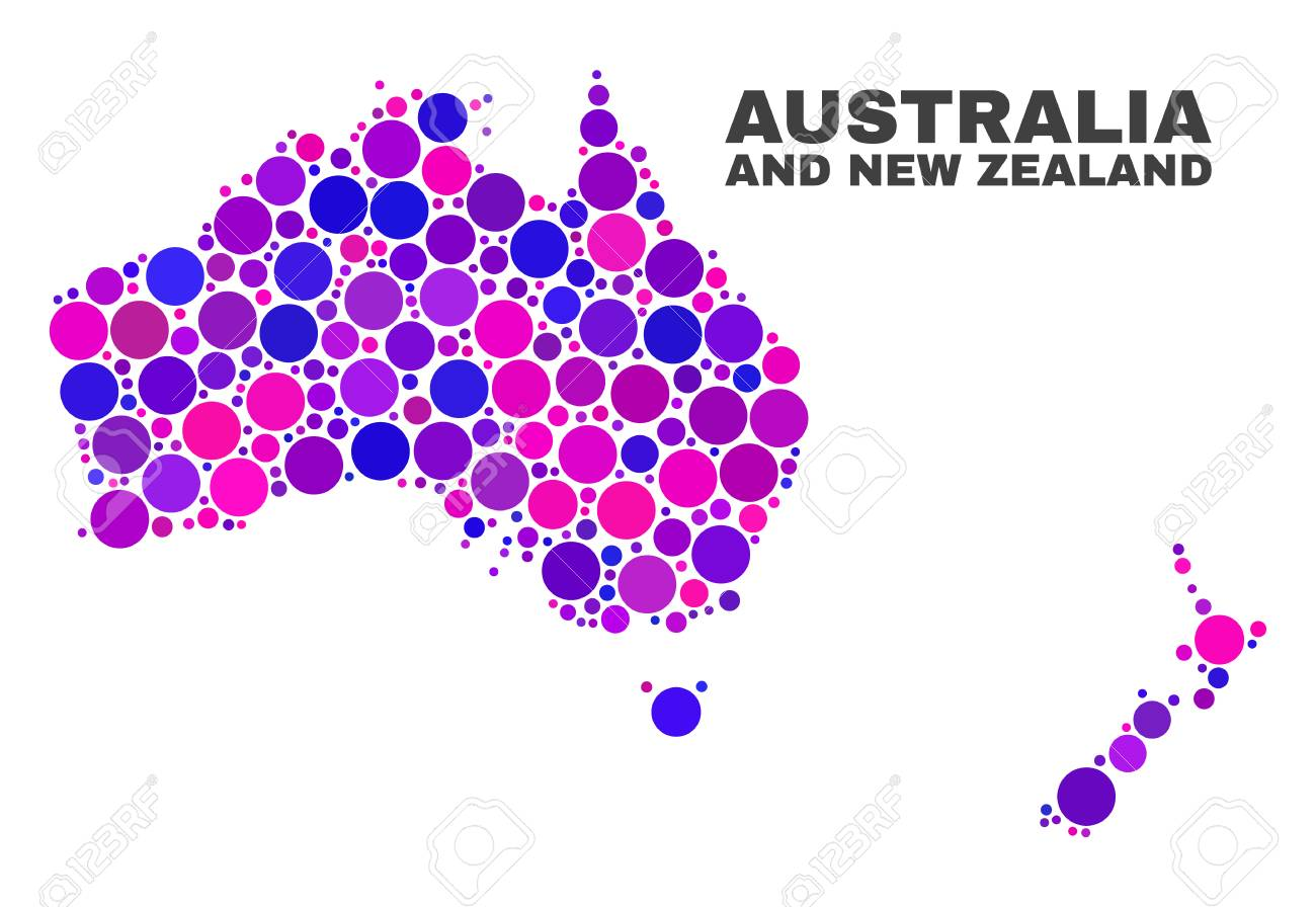 Mosaic Australia and New Zealand map isolated on a white background. Vector geographic abstraction in pink and violet colors. - 124710929