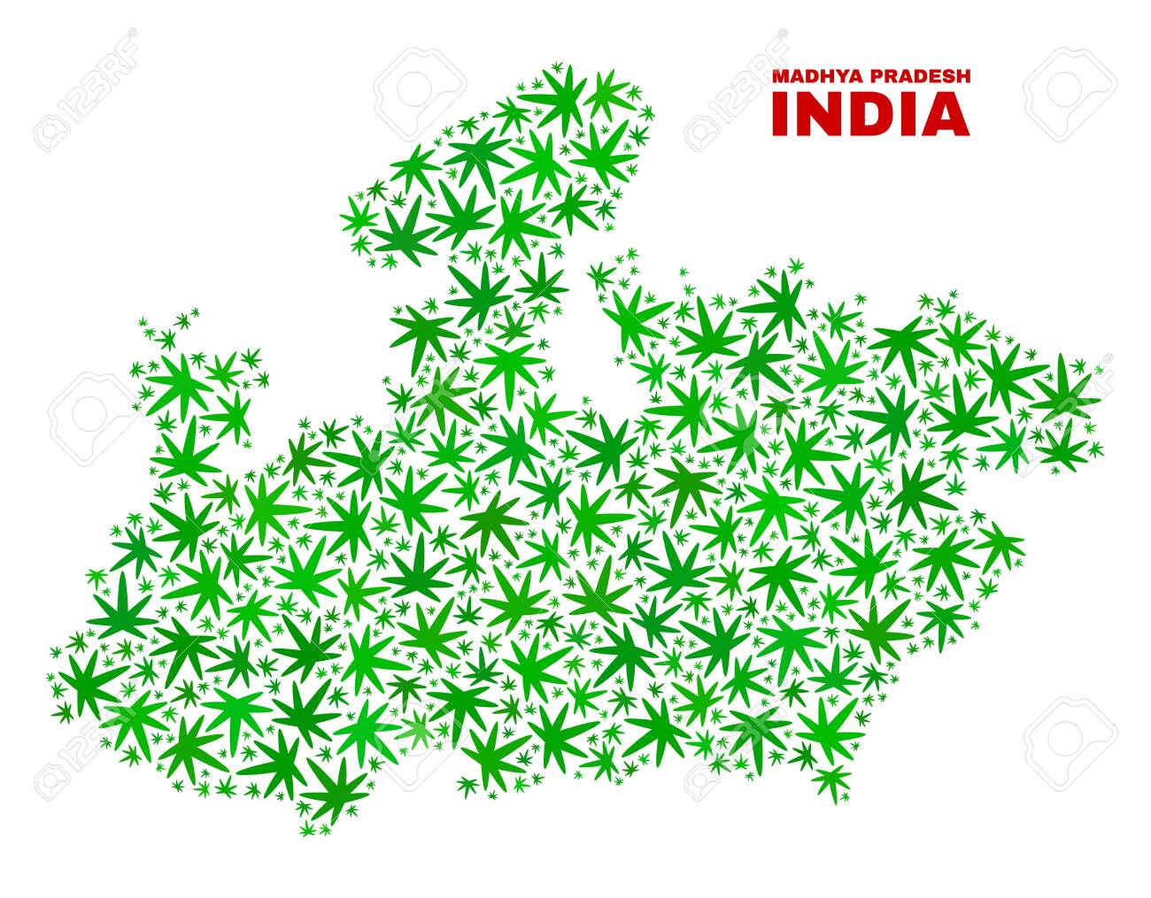 Vector cannabis Madhya Pradesh State map collage. Concept with.. on jharkhand state map, gujarat state map, orissa state map, bihar state map, haryana state map, chhattisgarh state map, kerala state map, assam state map, tamil nadu state map, telangana state map, bengal state map, maharashtra state map, karnataka state map, punjab state map, uttaranchal state map, andhra state map,