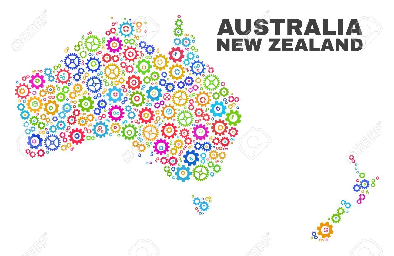 Australia To New Zealand Map.Mosaic Technical Australia And New Zealand Map Isolated On A