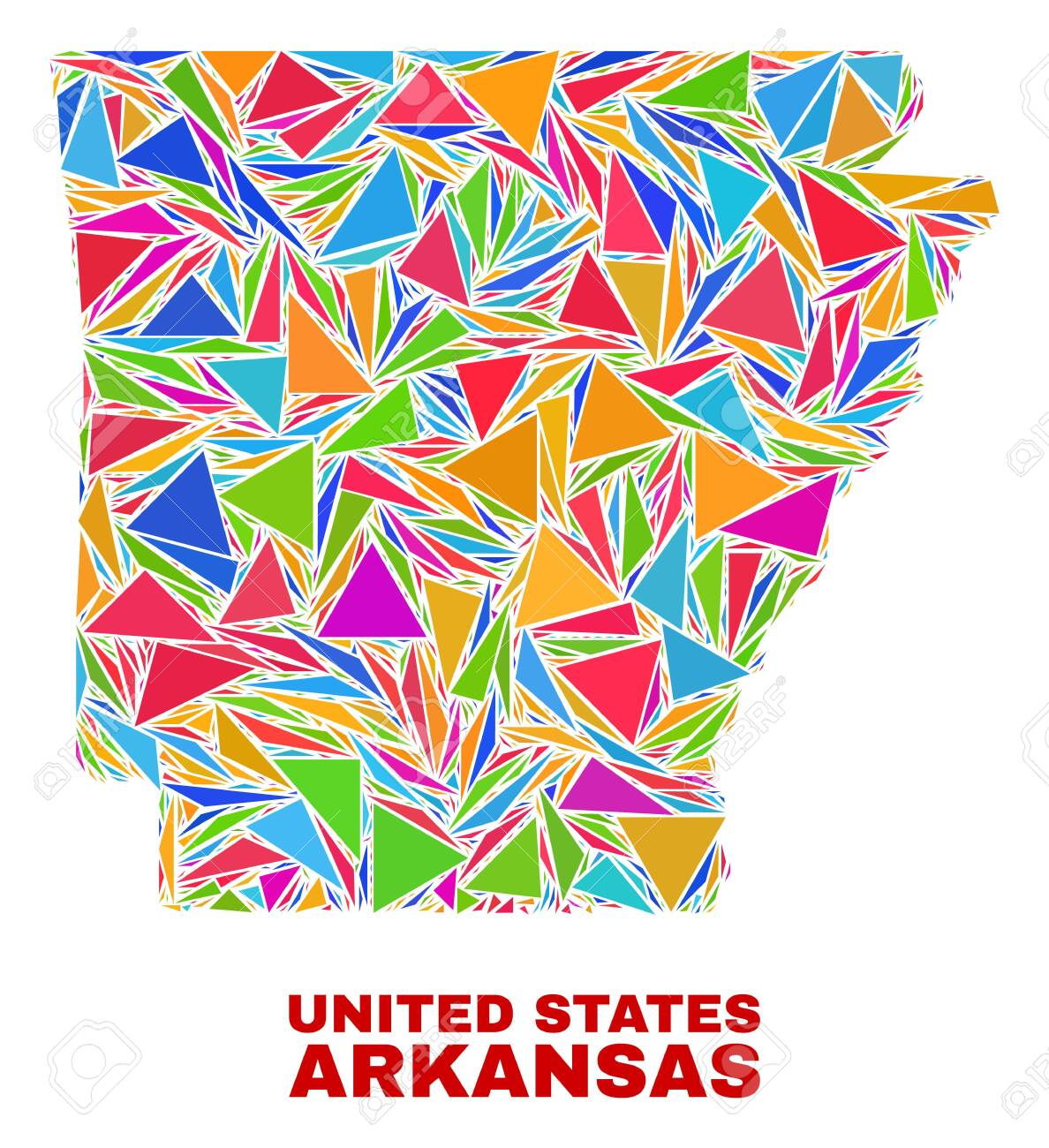 Mosaic Arkansas State map of triangles in bright colors isolated..