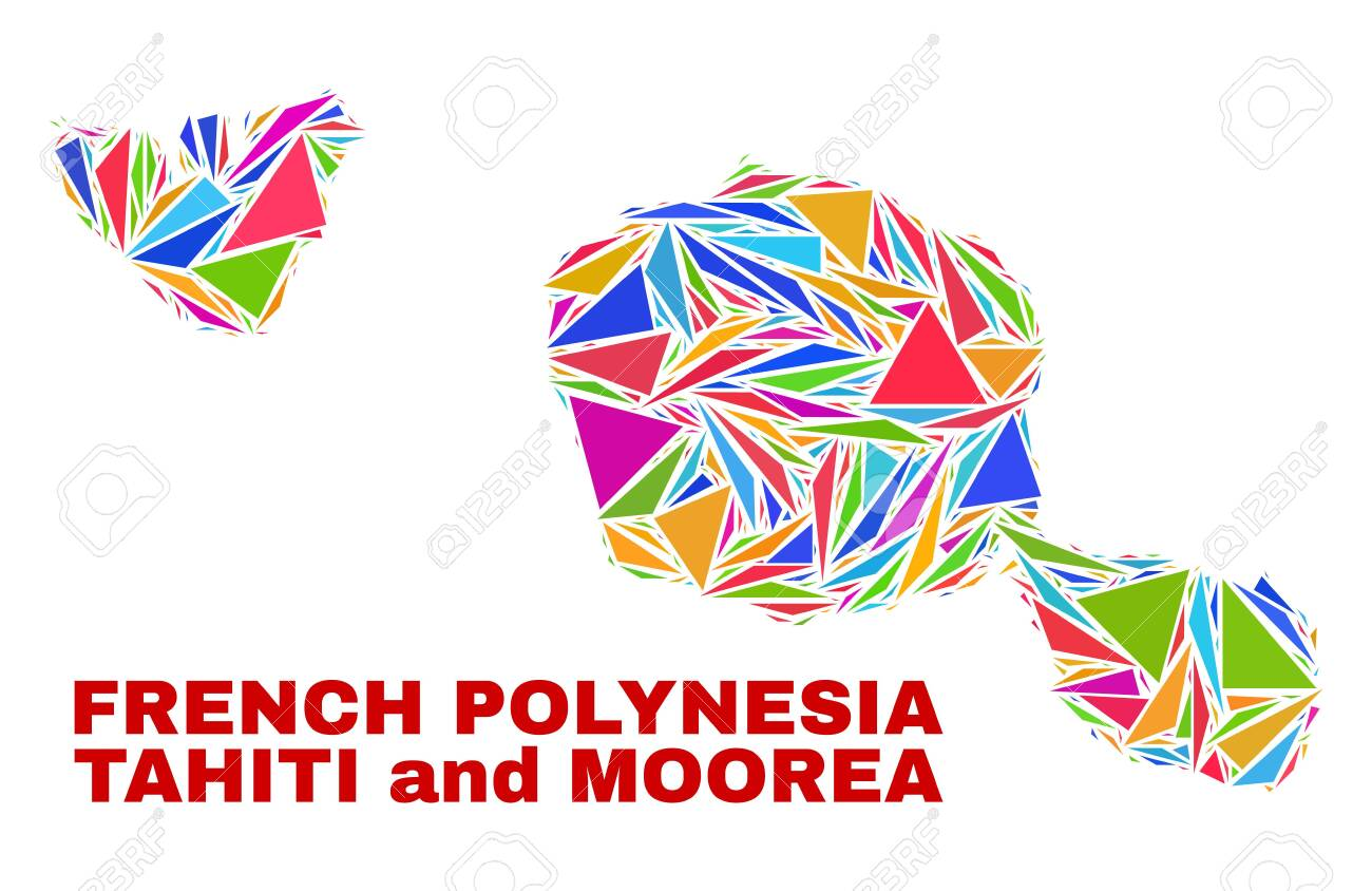 Mosaic Tahiti And Moorea Islands Map Of Triangles In Bright Colors