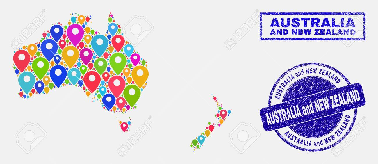 New Zealand Map Australia.Vector Colorful Mosaic Australia And New Zealand Map And Grunge