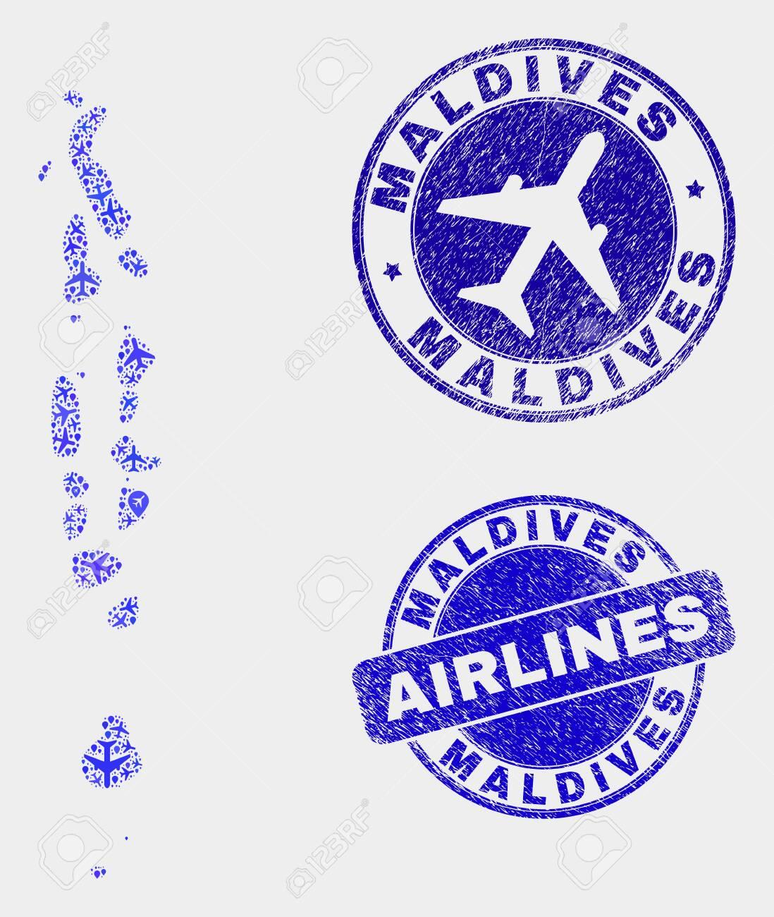 Airplane vector Maldives map mosaic and grunge seals. Abstract..