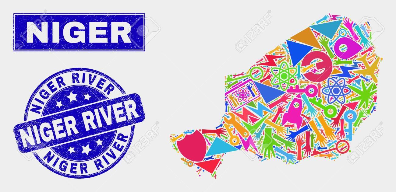 Mosaic tools Niger map and Niger River seal stamp. Niger map..