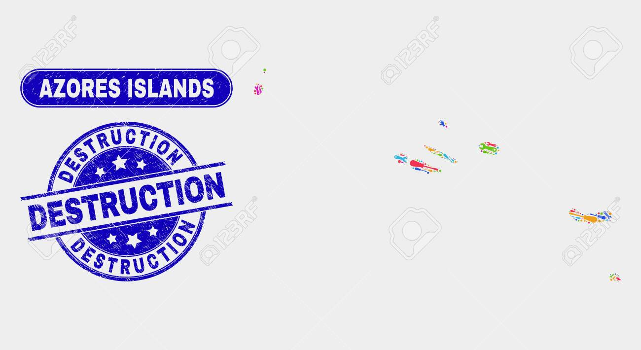 Factory Azores Islands Map And Blue Destruction Grunge Stamp Royalty Free Cliparts Vectors And Stock Illustration Image 126708352
