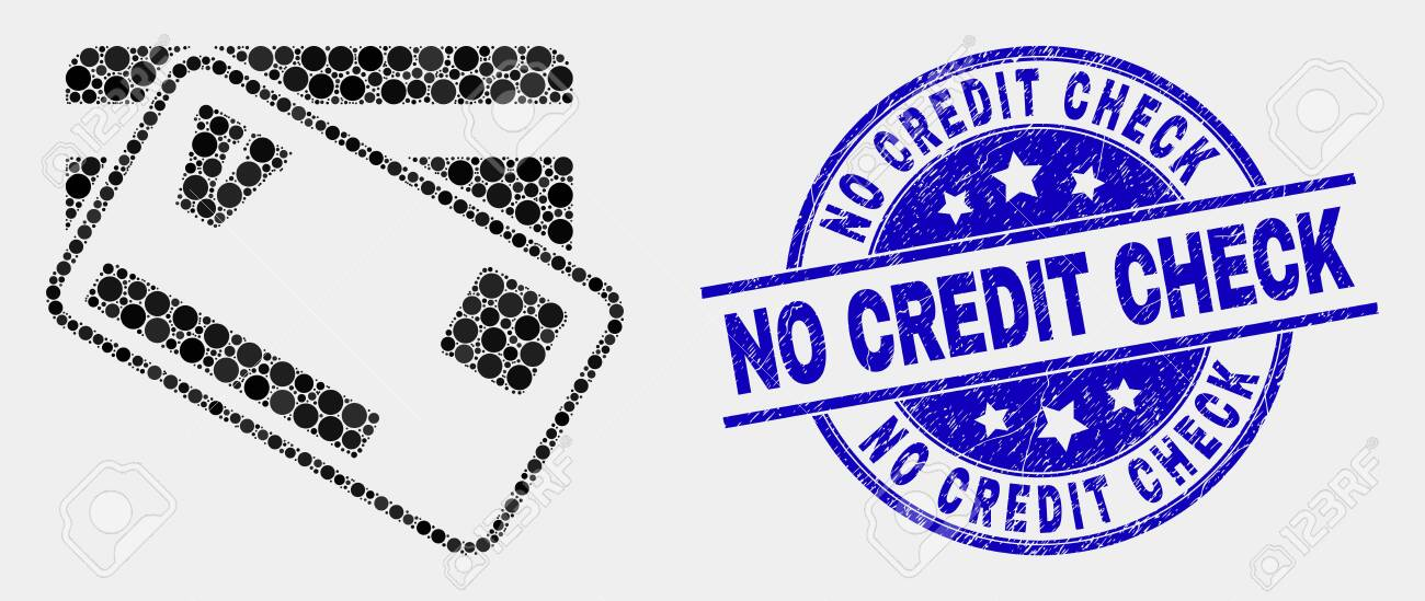No Credit Check Credit Cards >> Pixelated Credit Cards Mosaic Pictogram And No Credit Check Seal