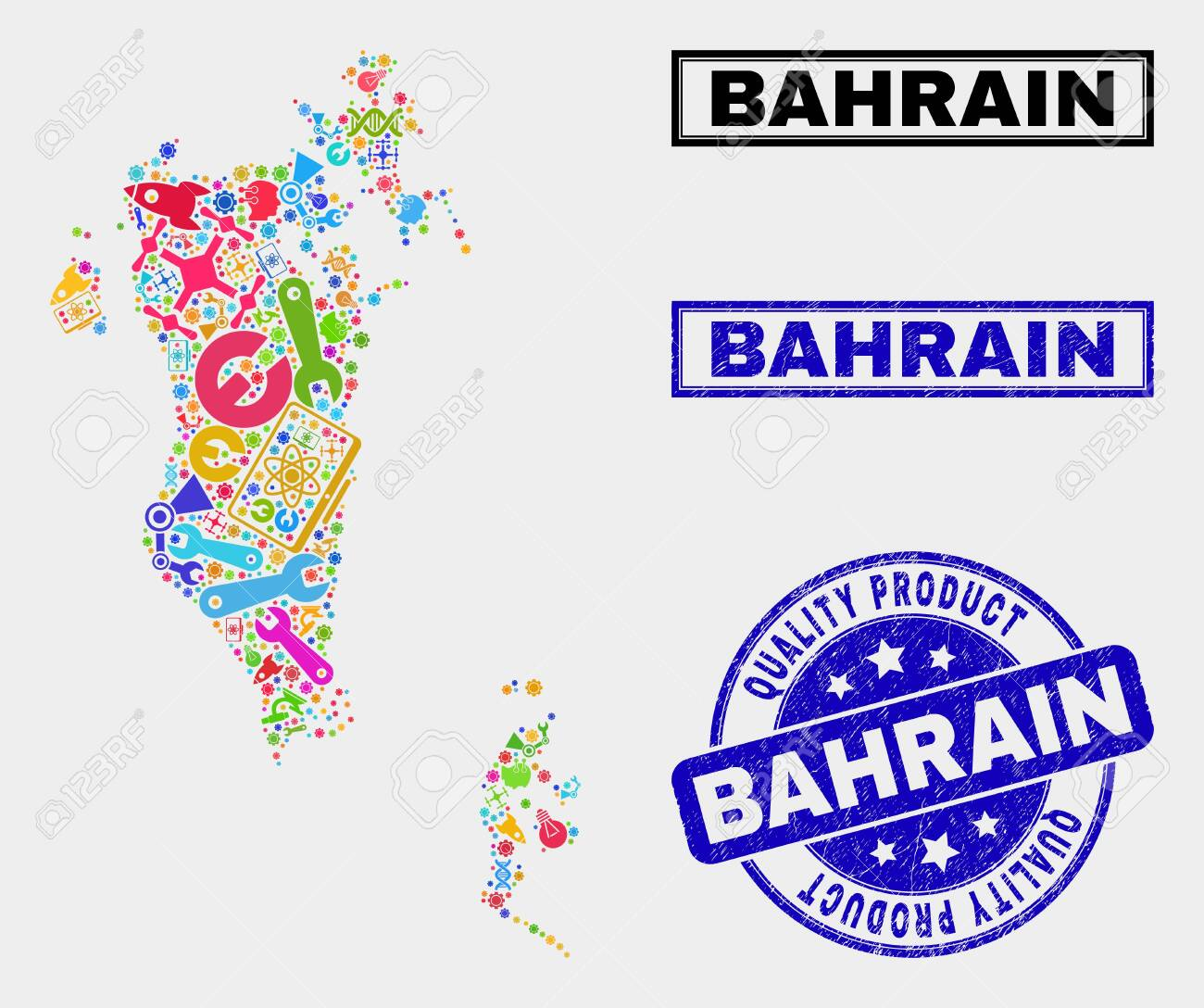 Vector collage of industrial Bahrain map and blue seal stamp