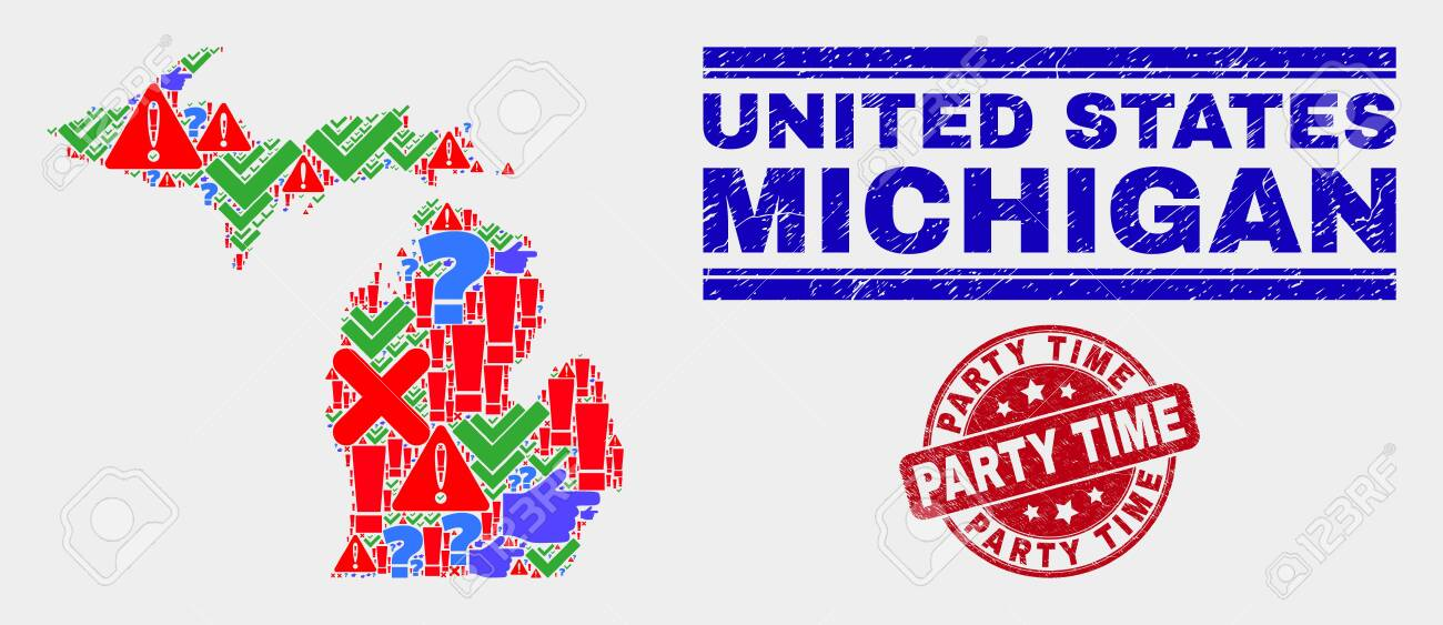 Symbol Mosaic Michigan State Map And Seal Stamps Red Rounded Royalty Free Cliparts Vectors And Stock Illustration Image 128791429