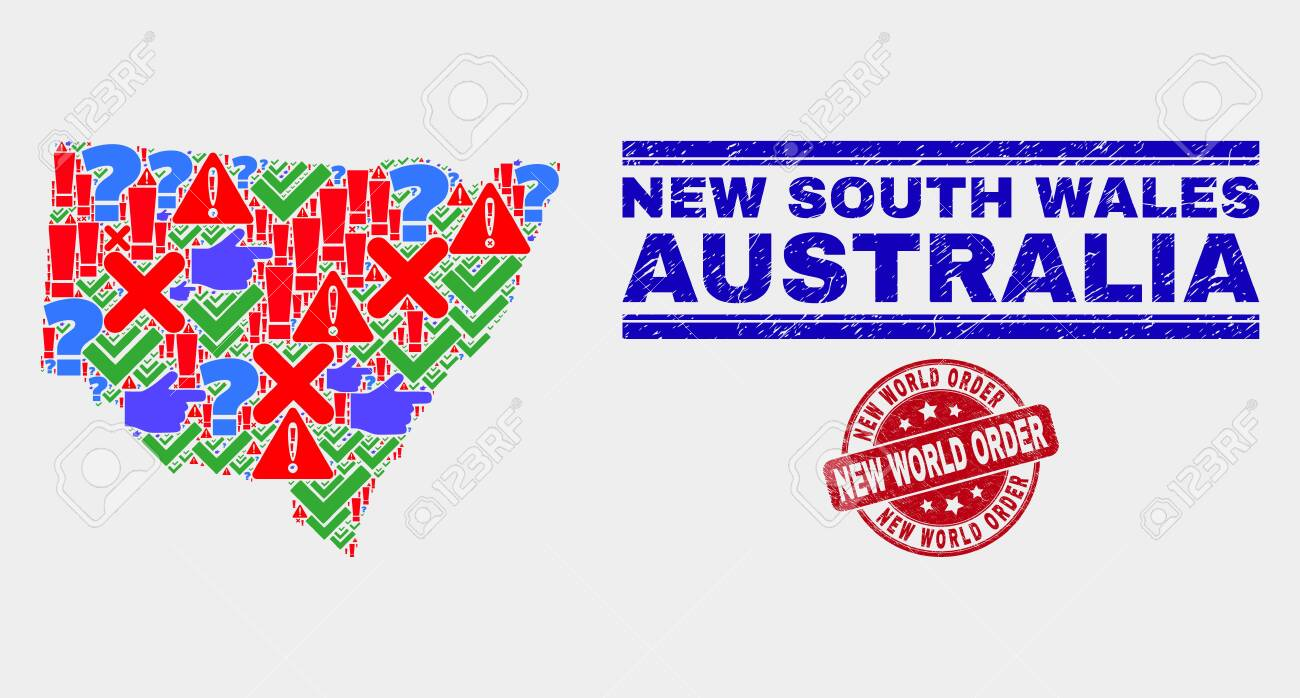 Picture of: Symbolic Mosaic New South Wales Map And Seal Stamps Red Rounded Royalty Free Cliparts Vectors And Stock Illustration Image 128791541