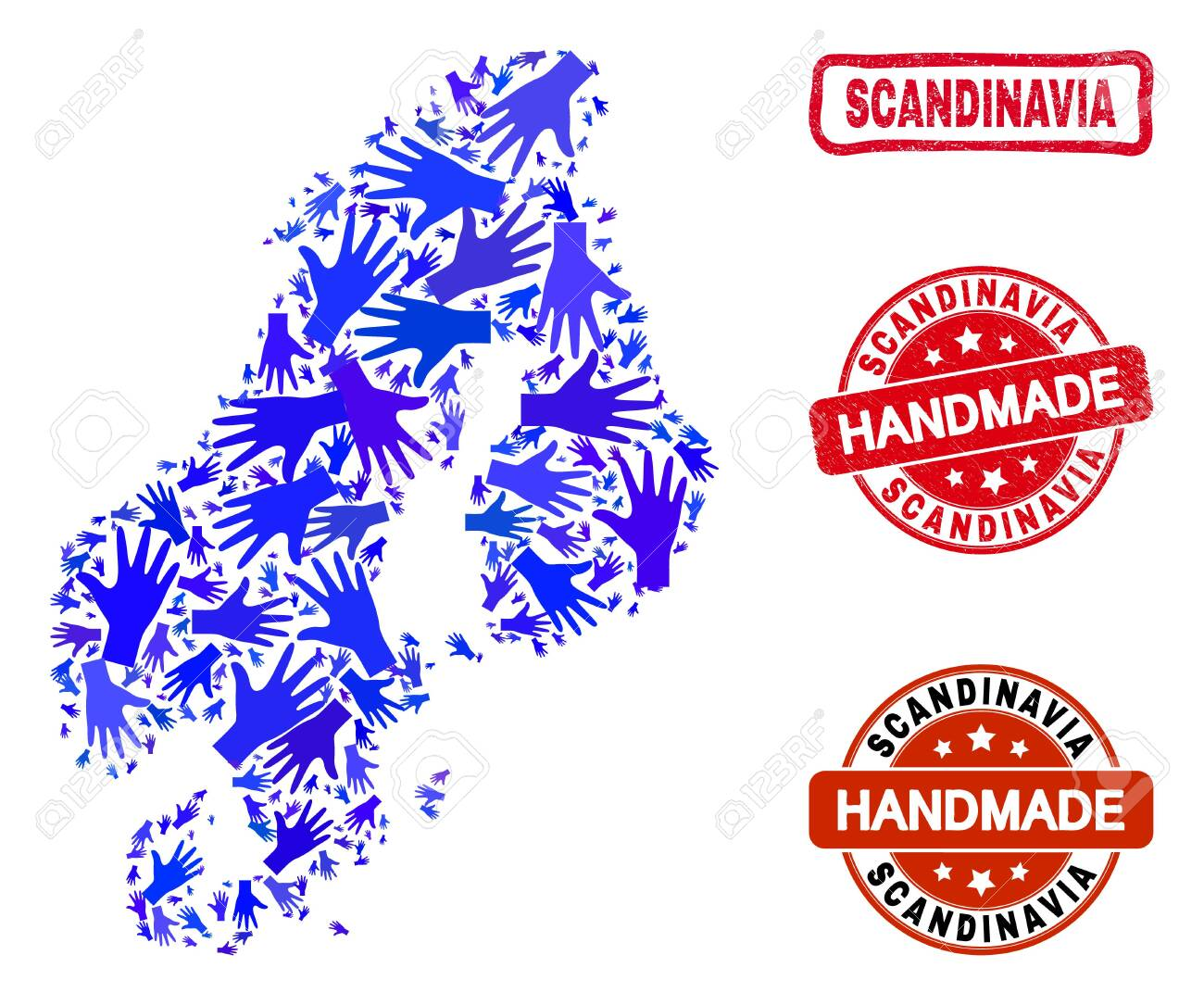 Vector Handmade Composition Of Scandinavia Map And Corroded Seals Mosaic Scandinavia Map Is Made Of Random Blue Hands Rounded And Crooked Red Seals With Unclean Rubber Texture Ilustraciones Vectoriales Clip Art Vectorizado