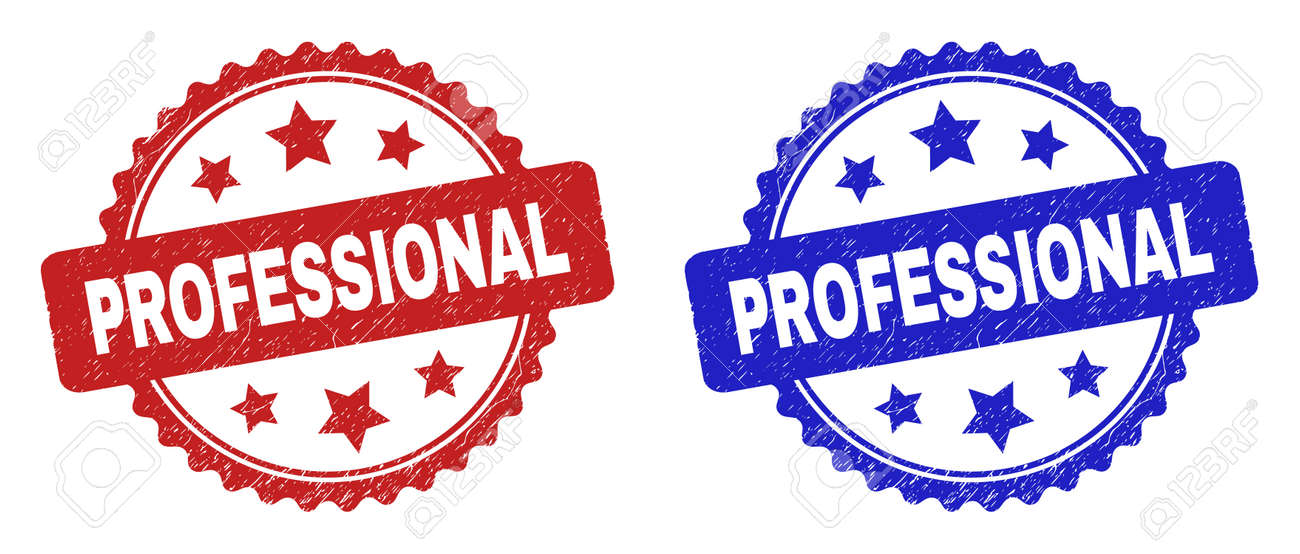 Rosette PROFESSIONAL seal stamps. Flat vector distress seal stamps with PROFESSIONAL caption inside rosette shape with stars, in blue and red color variants. Watermarks with distress surface. - 161826139