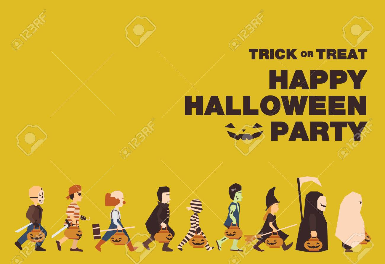 Poster Flat banner or background for Halloween Party Night.Jason Pirate Clown Dracula Mummy Frankenstein Witch Messenger of death Spooky design - 40300291