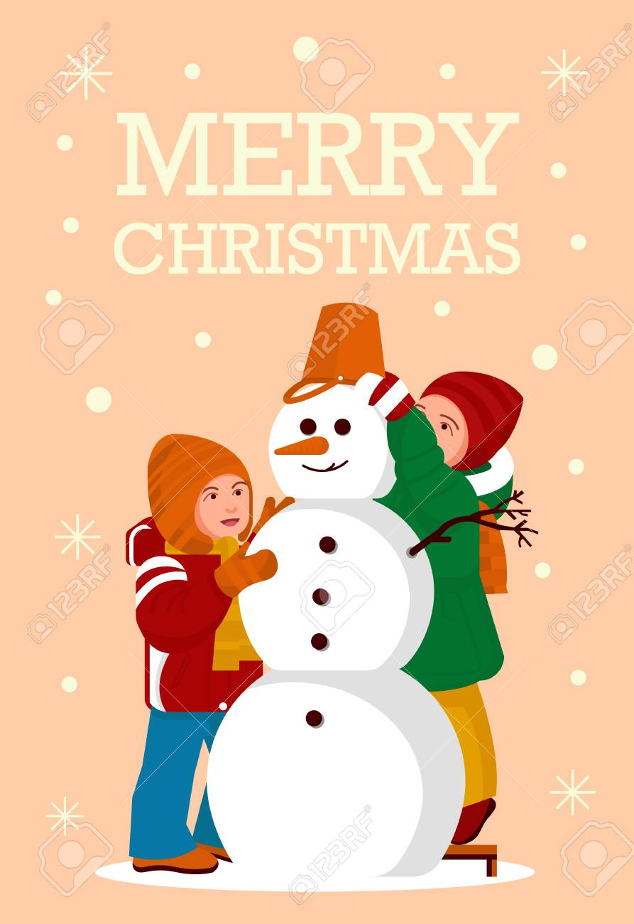Greeting Card Kids Build A Snowman Merry Christmas Party Vector