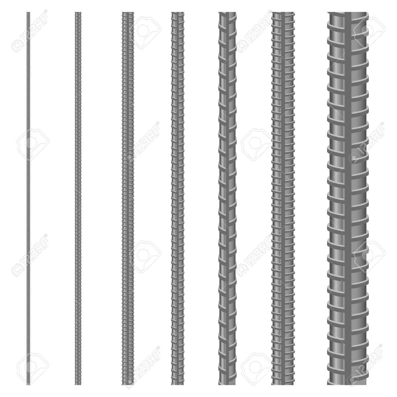Set of seamless steel rebars, vector illustration