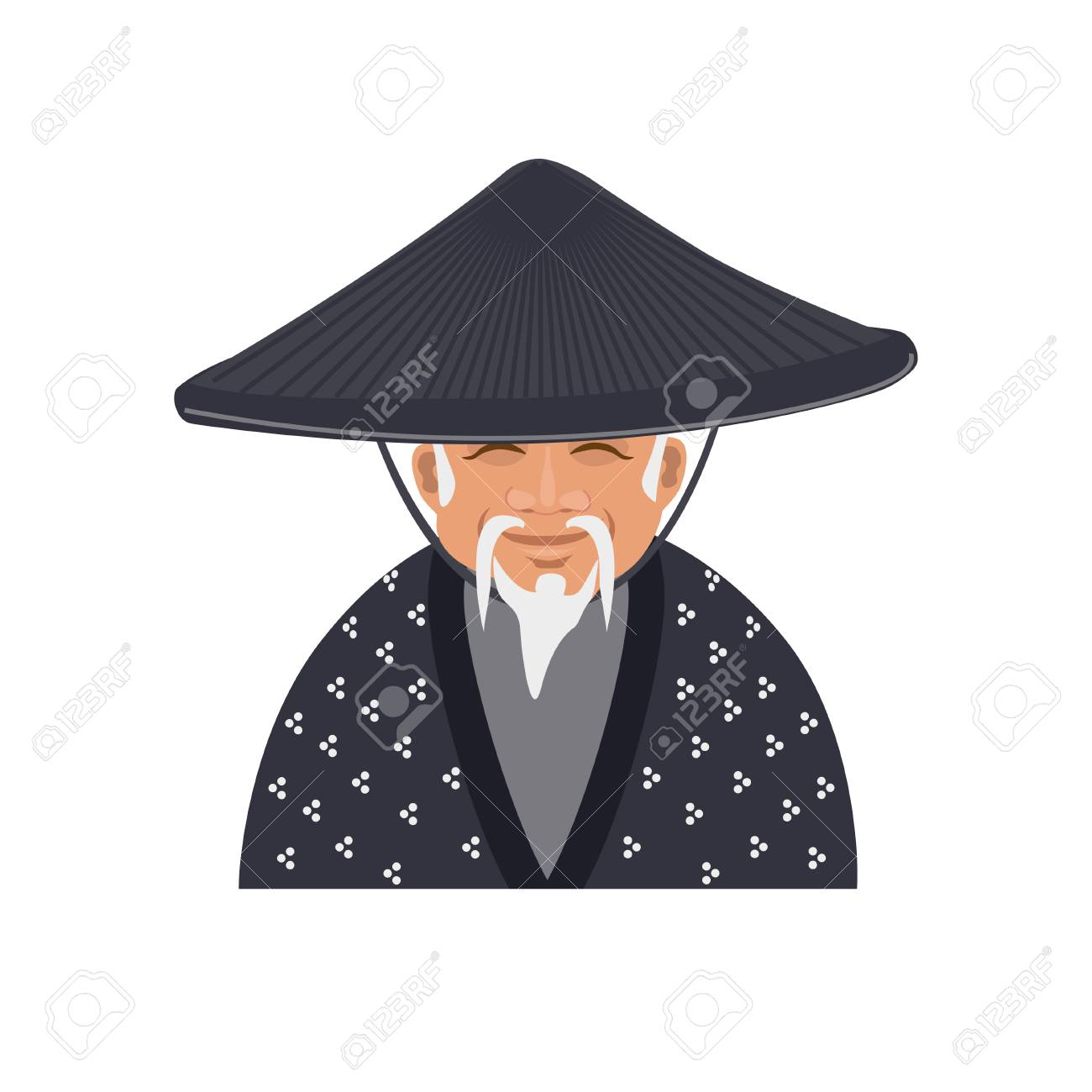 Older japanese man in traditional conical hat. Vector illustration Stock  Vector - 85466509 6a113abd810