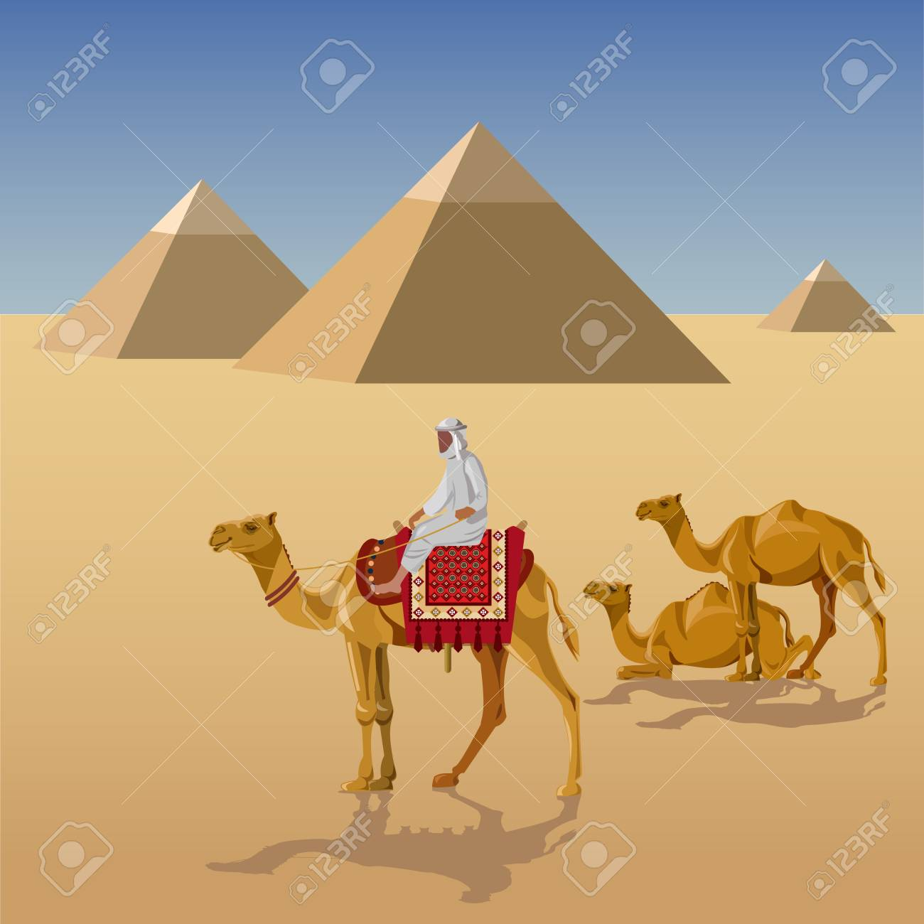 Camelcade in desert with egyptian pyramids. Vector illustration - 90907866
