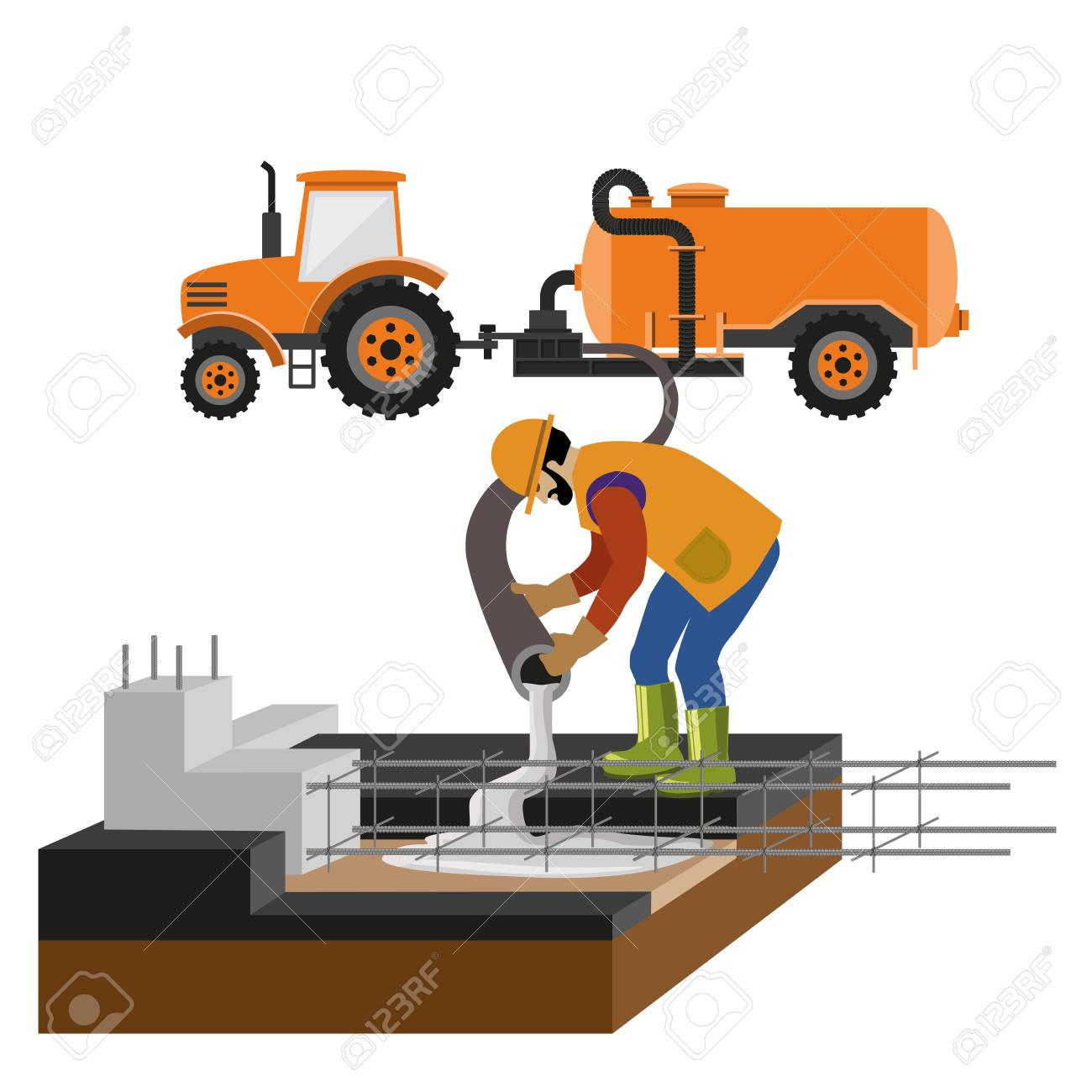 Worker at building site are pouring concrete in mold. Vector illustration isolated on white background - 96924004