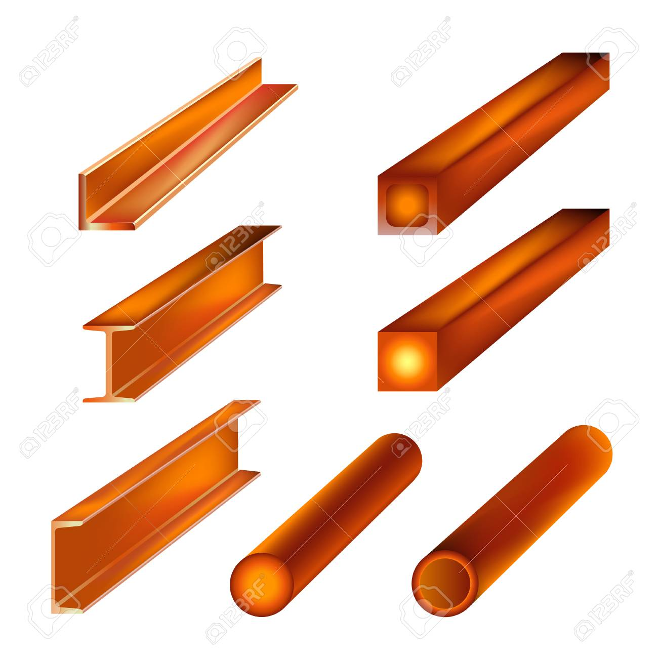 Hot rolled metal products. Vector illustration isolated on white background - 99019015
