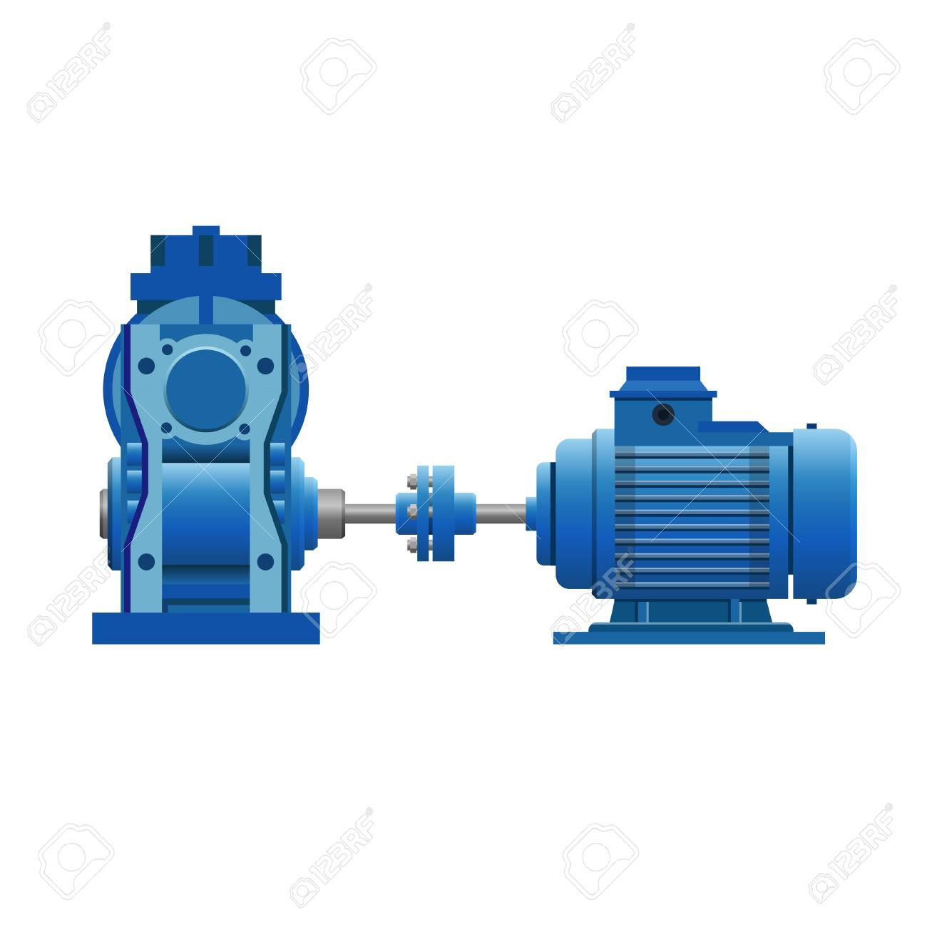 Induction motor with gear set. Vector illustration isolated on white background - 99017547