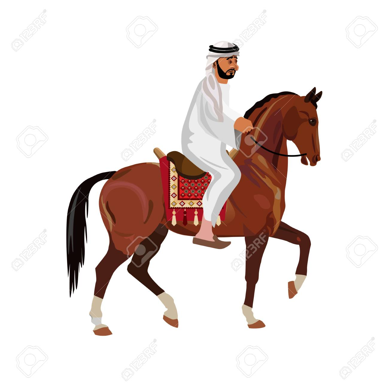 Arab Man In Traditional Clothing Riding His Horse Vector Illustration Royalty Free Cliparts Vectors And Stock Illustration Image 100938007