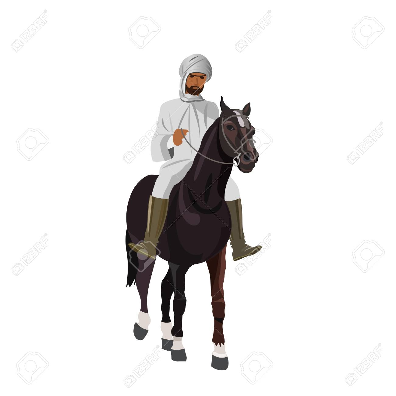 Arab Man In Traditional Clothing Riding His Horse Vector Illustration Royalty Free Cliparts Vectors And Stock Illustration Image 101017596