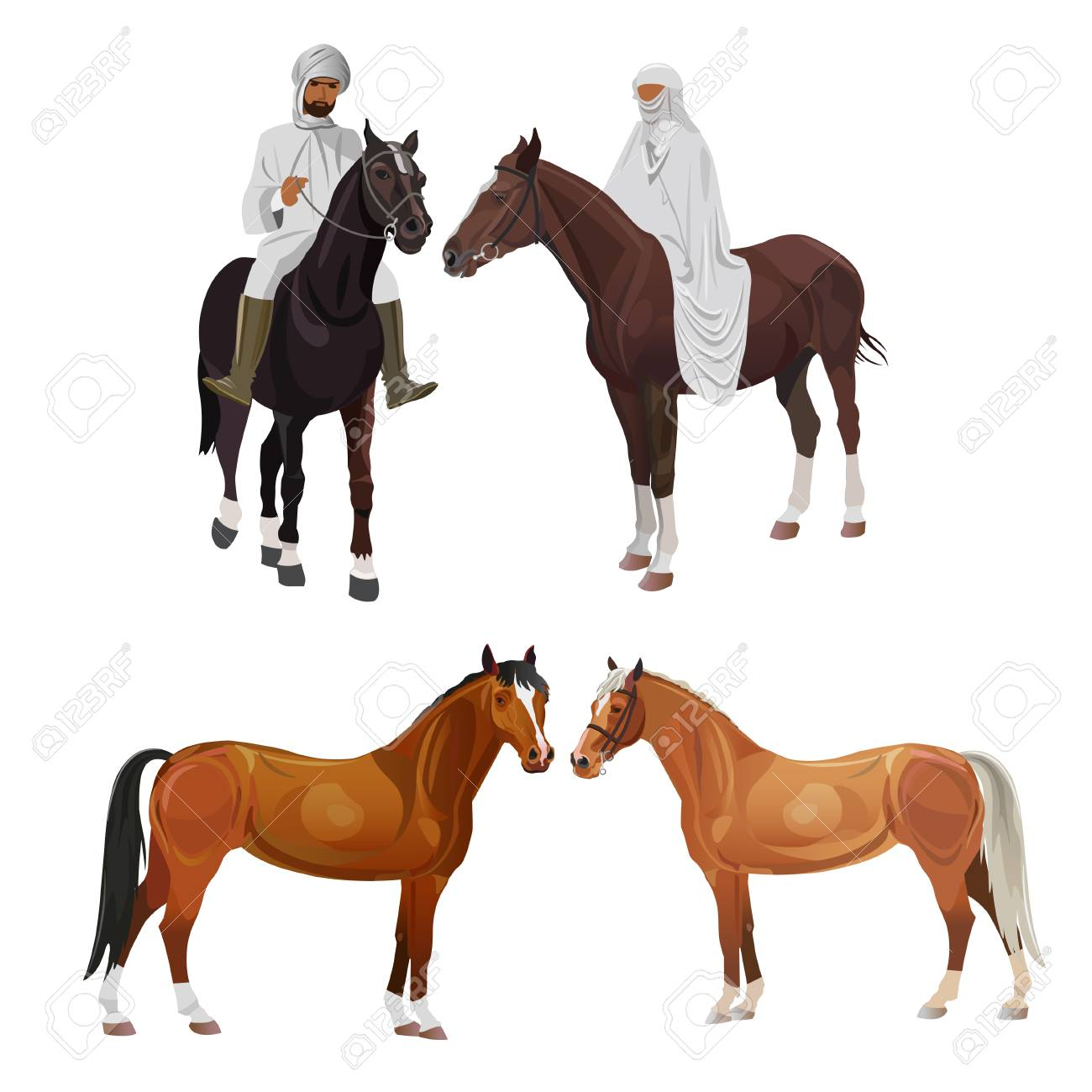 Arabian Riders In Traditional Dress And Horses Vector Illustration Royalty Free Cliparts Vectors And Stock Illustration Image 103119092
