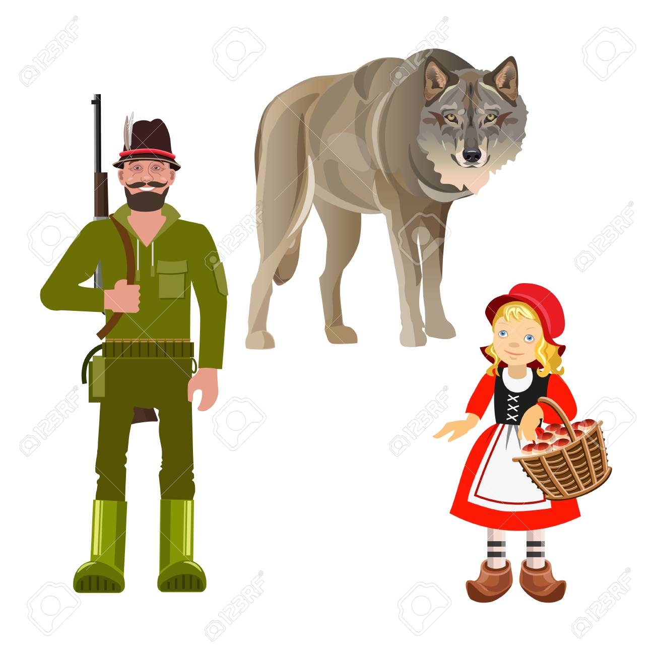 Set of characters from Little Red Riding Hood fairy tale. Vector illustration isolated on white background - 115094087