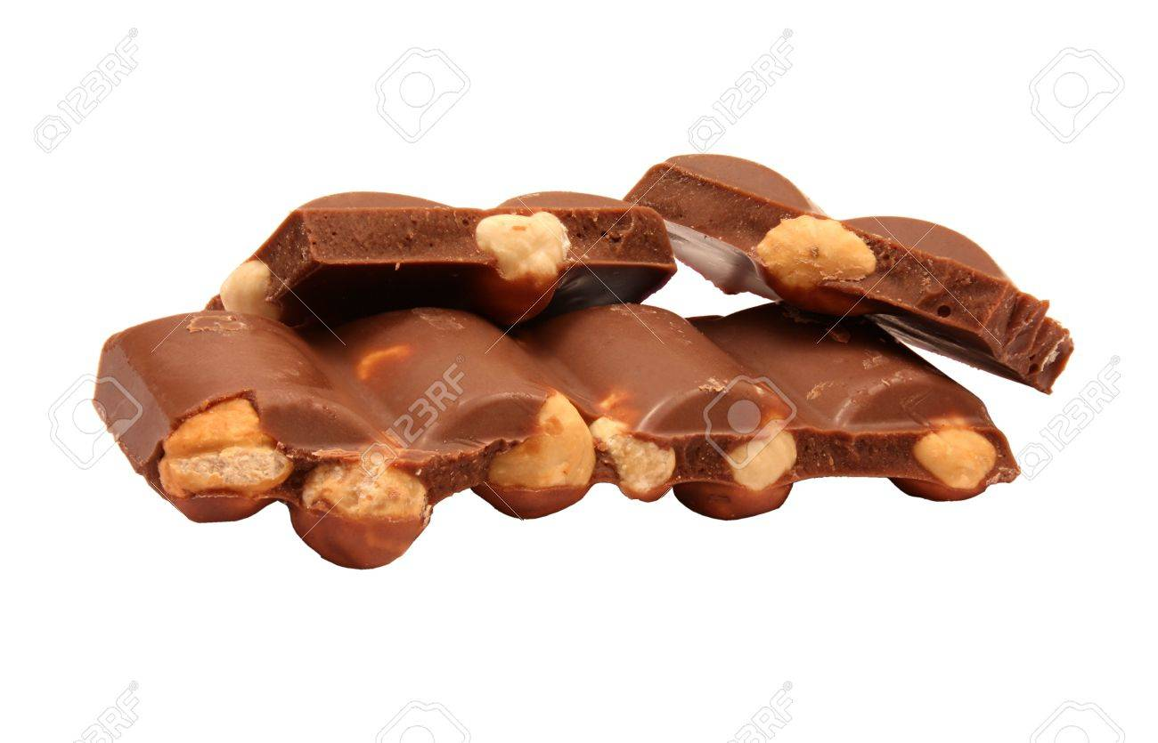 Chocolate With Nuts Isolated On White Stock Photo, Picture And ...