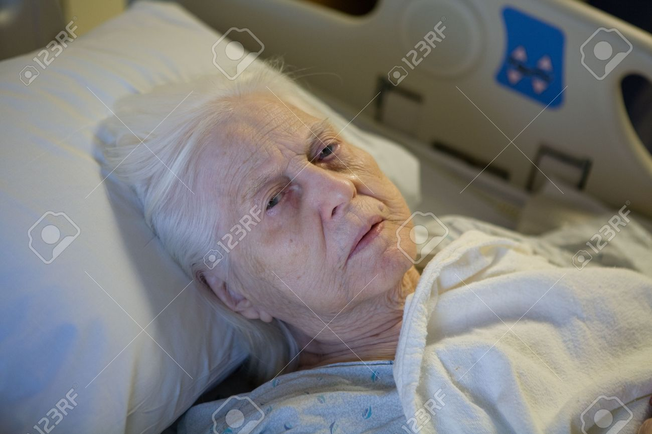 Old Woman in Hospital Bed Stock Photo - 7867802