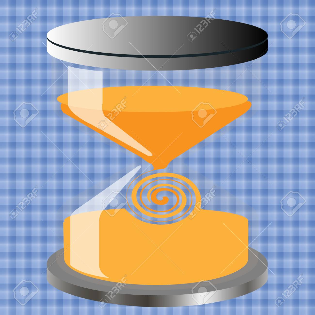 Decorative hourglass against a background of blue tiles Stock Vector - 13770049