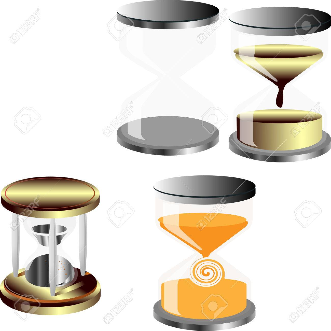 Vector Set Of Decorative Hourglass No Background Substrate Royalty - Decorative-hourglass