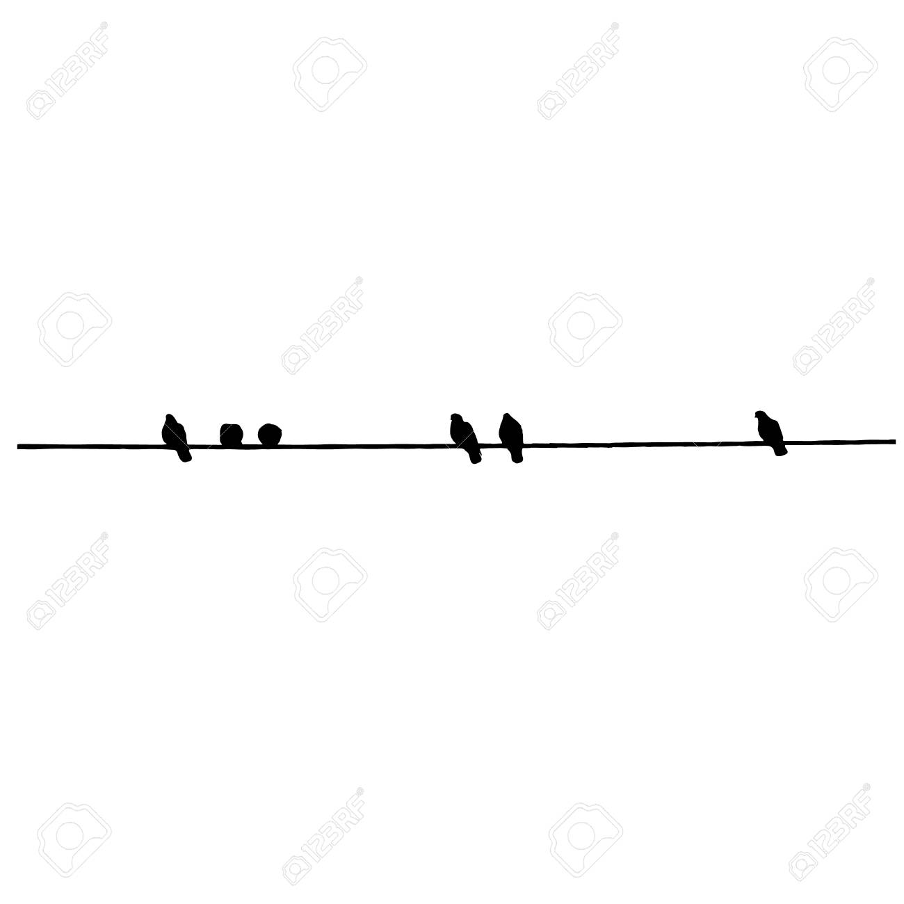 Pigeon silhouettes on the wire. Vector illustration - 97292885
