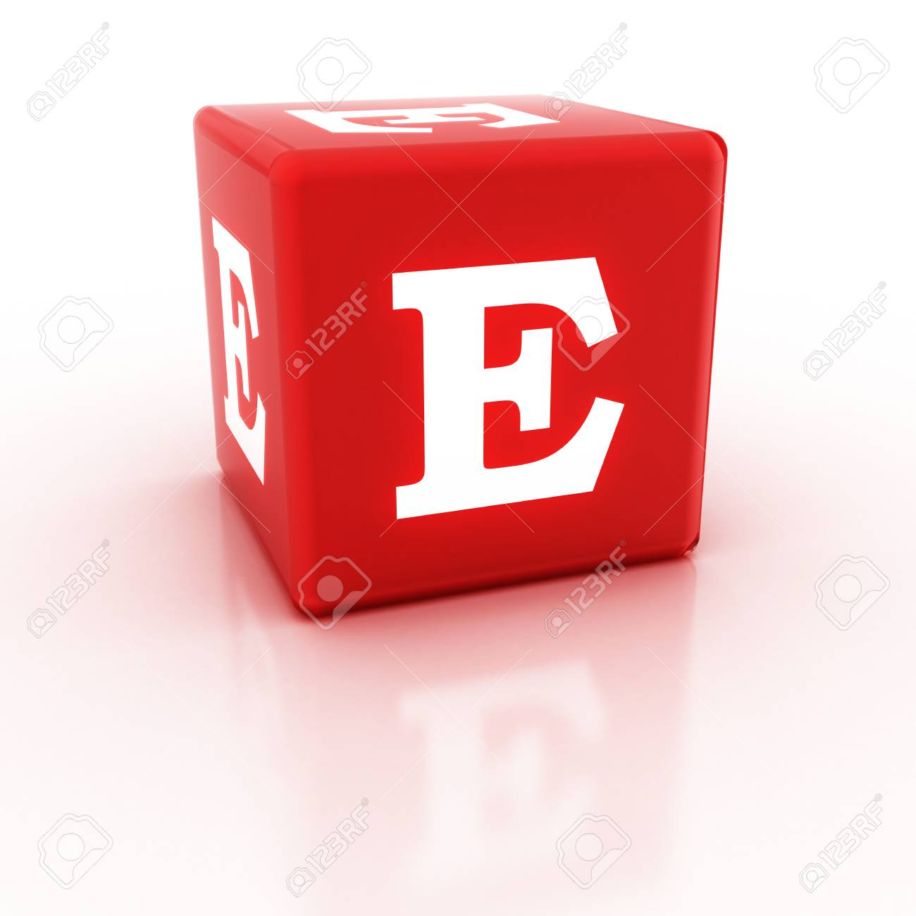 The Letter E On The Cube D Render Of A Cube The Alphabet Blocks