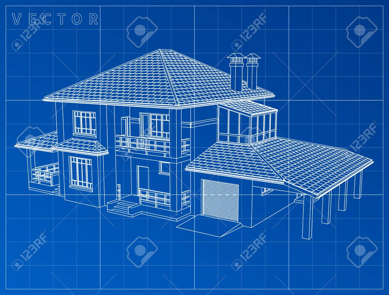 Amazing Vector   Wireframe Blueprint Drawing Of 3D House   Vector Illustration. Eps  10 Home Design Ideas