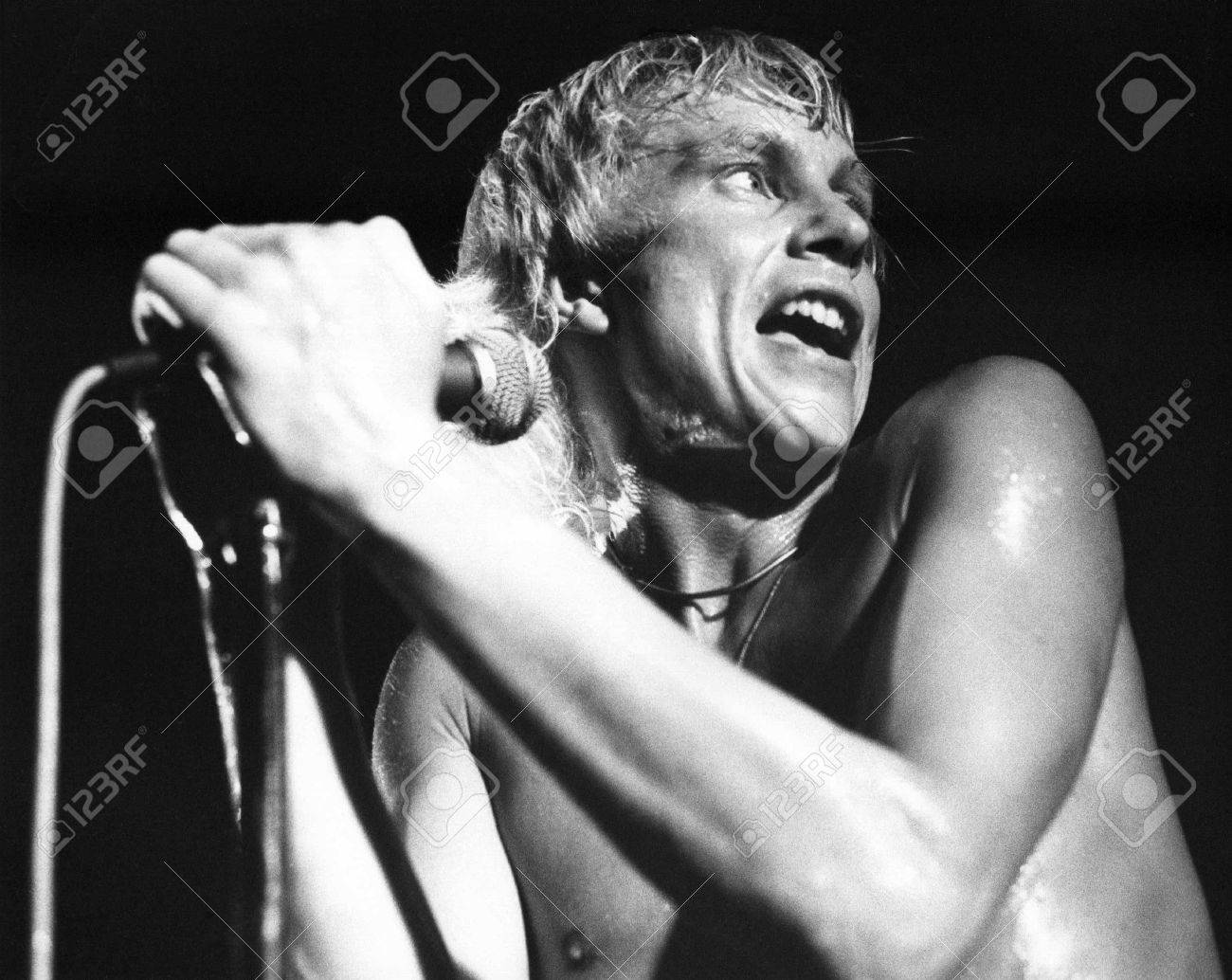 London, England - July 21, 1978 - Andy Ellison, lead singer of British pop group Radio Stars, performs live on stage. Stock Photo - 6890634