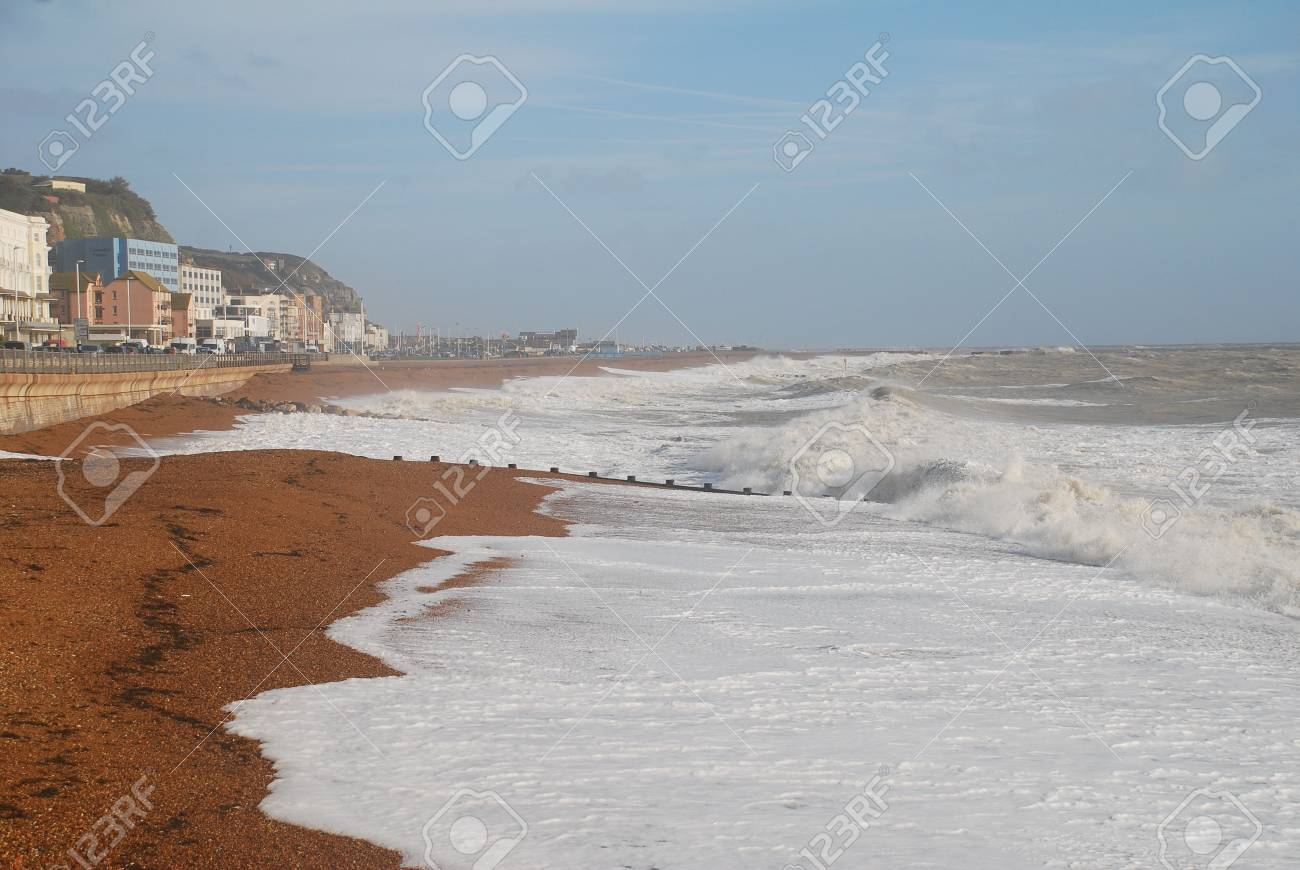 Hastings, England - November 17, 2009 - Waves breaking on the beach on a stormy day at Hastings in East Sussex. Stock Photo - 8185486