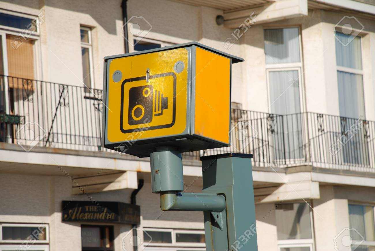 Hastings, England - November 3, 2009 - A yellow speed camera on the seafront road at Hastings, East Sussex. Stock Photo - 8944714