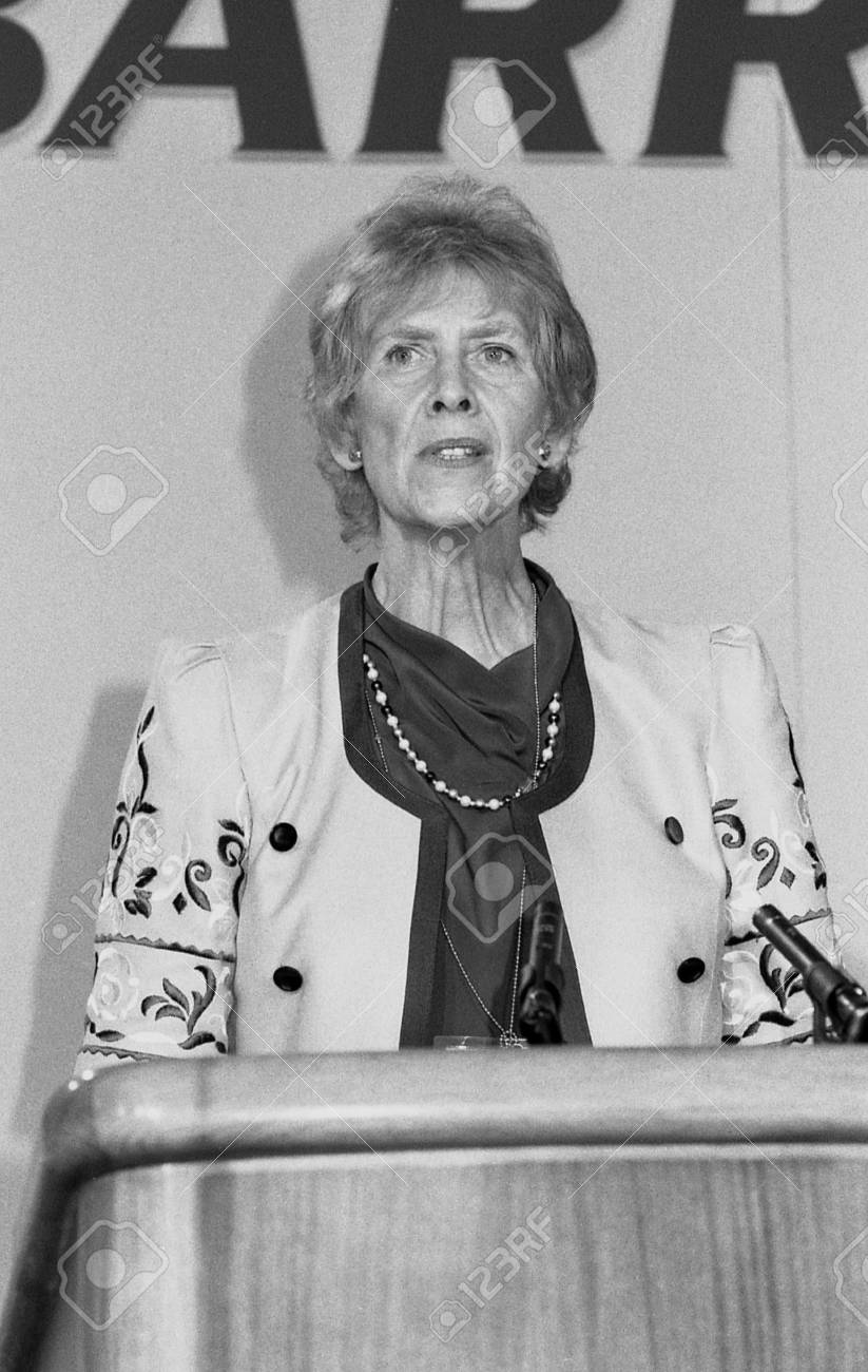 London, England - June 27, 1991 - Angela Rumbold, Minister of State at the Home Office and Conservative party Member of Parliament for Mitcham and Morden speaks at a conference. She died in June 2010. Stock Photo - 9512012