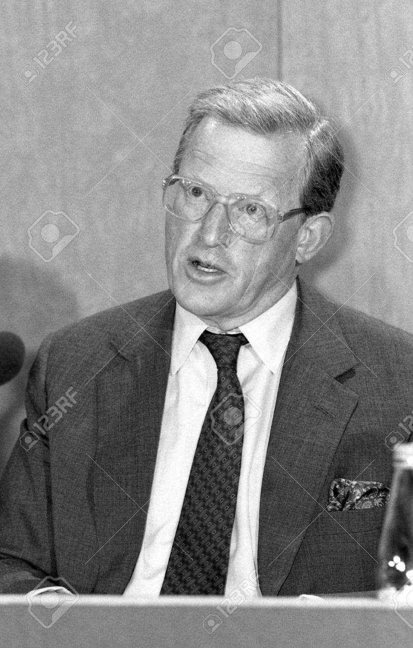 London, England - September 9, 1991 - Rt.Hon. Tom King, Secretary of State for Defence and Conservative party Member of Parliament for Bridgwater, speaks at a press conference. Stock Photo - 11767761