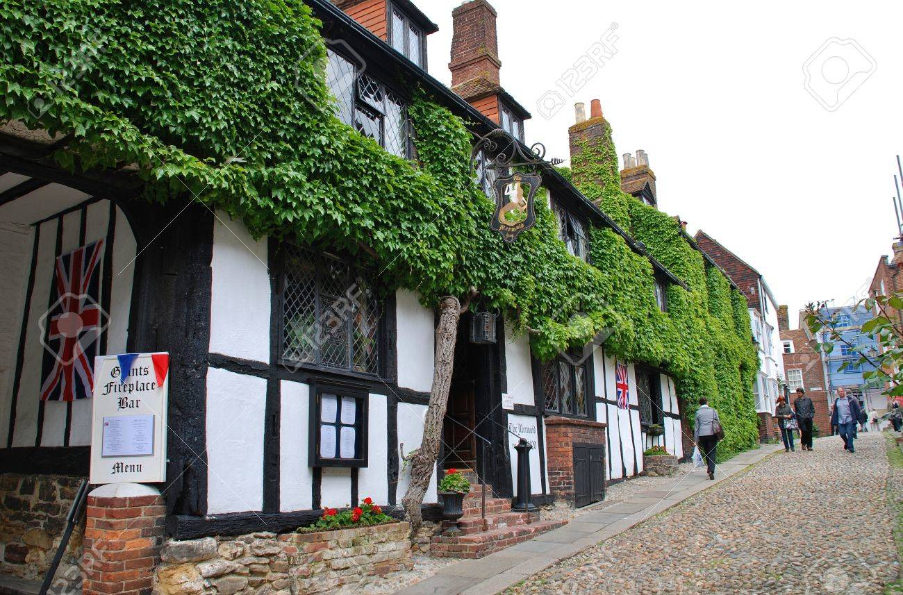 Rye, England - June 2, 2012 - The historic Mermaid Inn in Rye, East Sussex. Orginally dating from the 12th Century the Inn was rebuilt in 1420. Stock Photo - 15838423