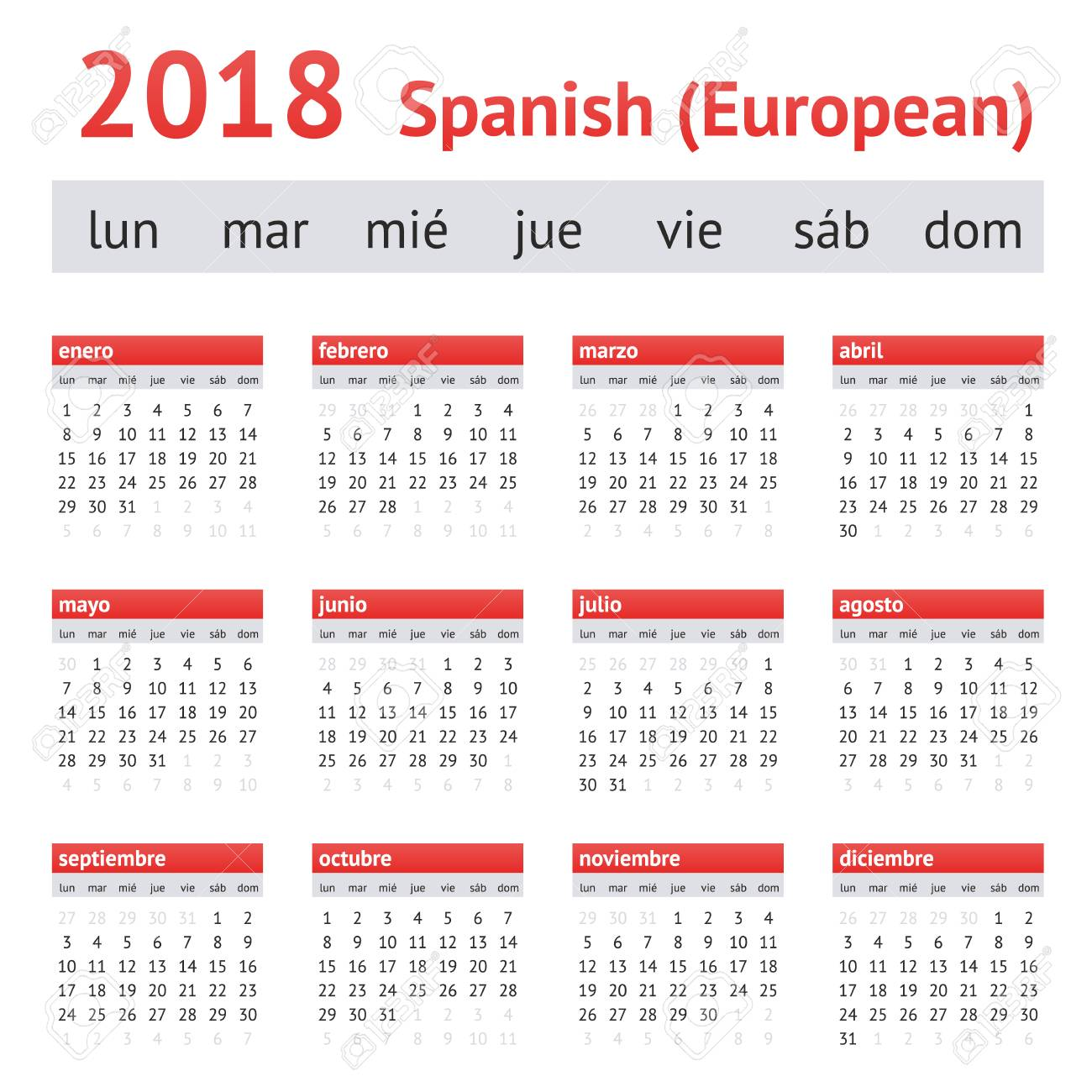 calendar 2018 spain european spanish calendar week starts on monday stock photo